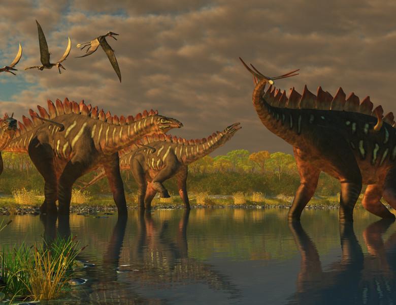 dinozaur sauropod cu spini in apa si reptile zburatoare