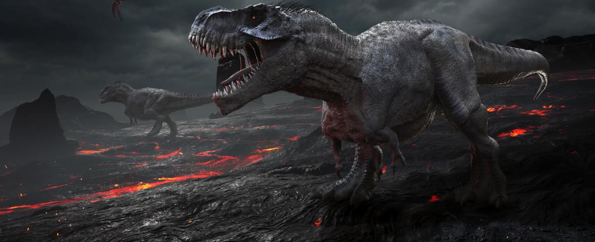 disparitie dinozauri t-rex pe un munte de lava