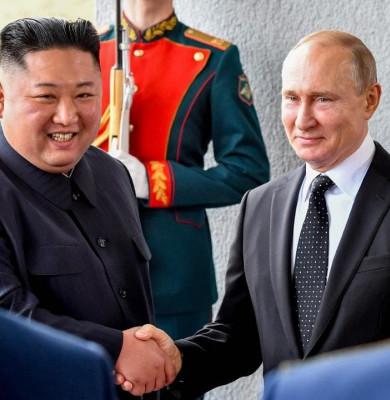 Vladimir Putin cu Kim Jong-un