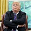 Donald Trump cu mâinile în sân