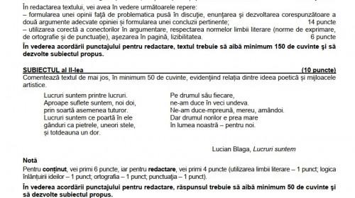 Modele de subiecte Limba Română, teste