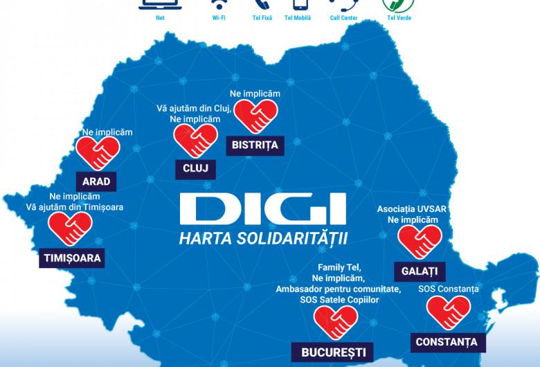 Harta solidarității Digi Tel Family Tel