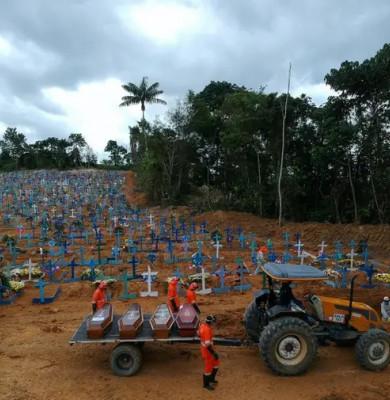 Cimitir în Brazilia cu morți de COVID-19