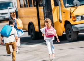 Microbuz școlar cu elevi, educație, transport la ore, cursuri, învățământ, școlari