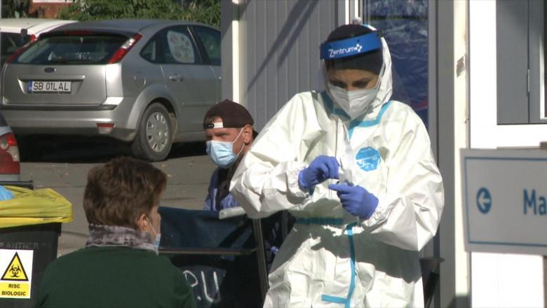 Test de coronavirus, COVID-19, SARS-CoV-2, medic, viziere, tampon, Sibiu