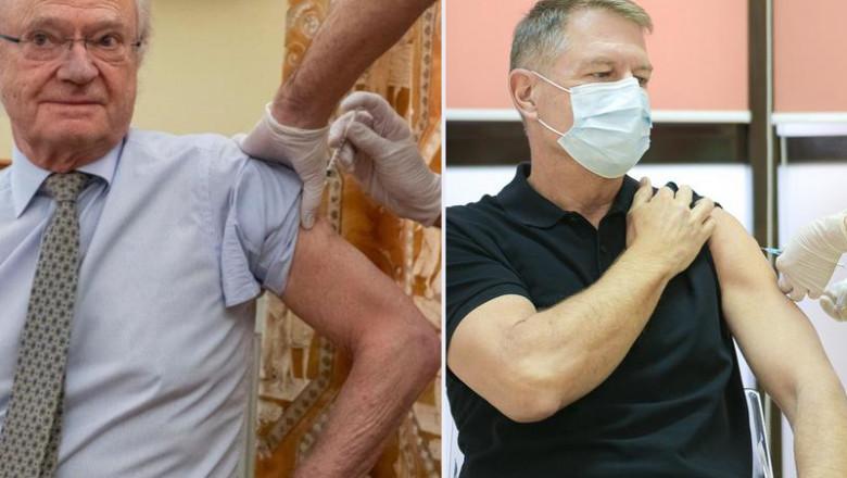 Regele Suediei Gustaf și Klaus Iohannis se vaccinează