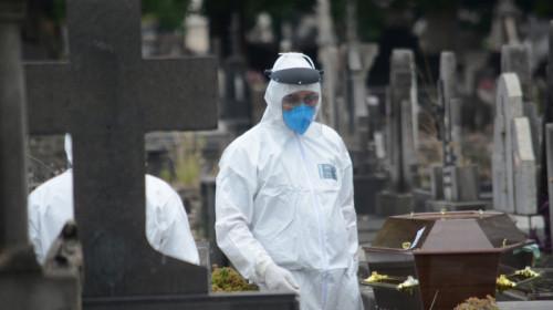 Înmormântare cu coșciug de decedat COVID-19, coronavirus, sicriu, mască, combinezon, SARS-CoV-2 mort
