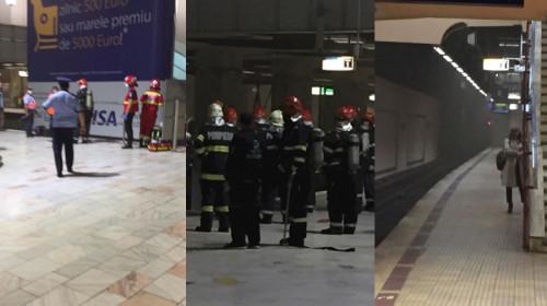 Fum la metrou în tunelul de la Piața Victoriei