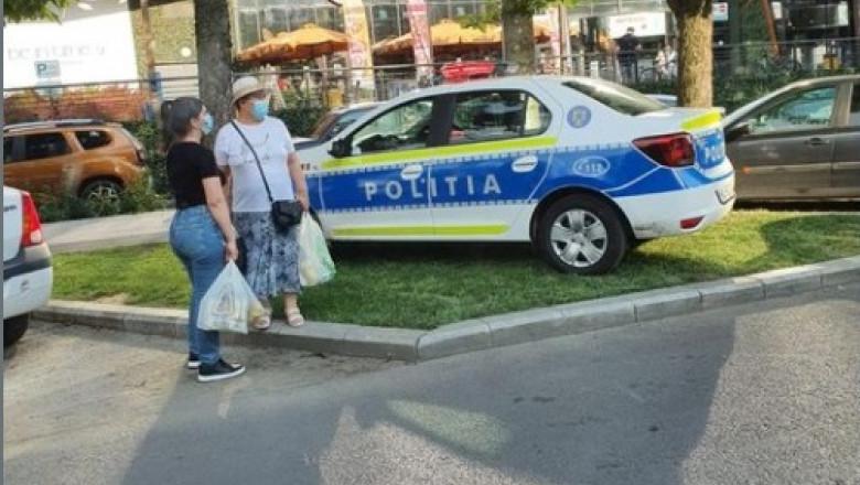 Mașină de poliție parcată pe iarbă