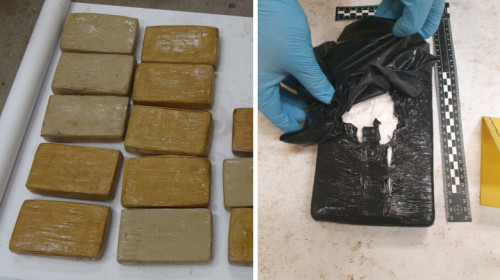 Cocaină, droguri, stupefiante găsite într-un depozit din Chiajna