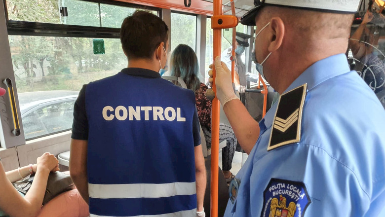 Controlori STB cu polițiști, transport în comun, tramvai