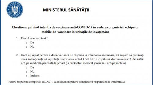 Chestionar intentie de vaccinare elevi