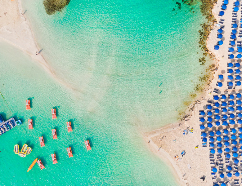 Nissi,Beach,In,Ayia,Napa,,Clean,Aerial,Photo,Of,Famous