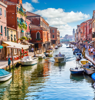 Island,Murano,In,Venice,Italy.,View,On,Canal,With,Boat