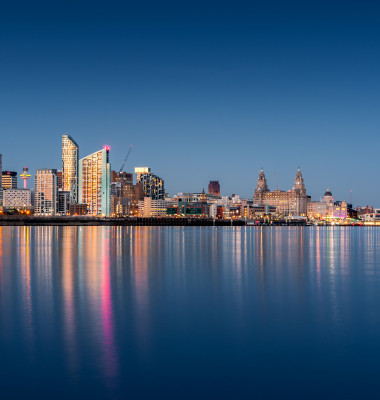 A,Blue,Hour,Image,Of,The,Liverpool,Skyline,With,Lights