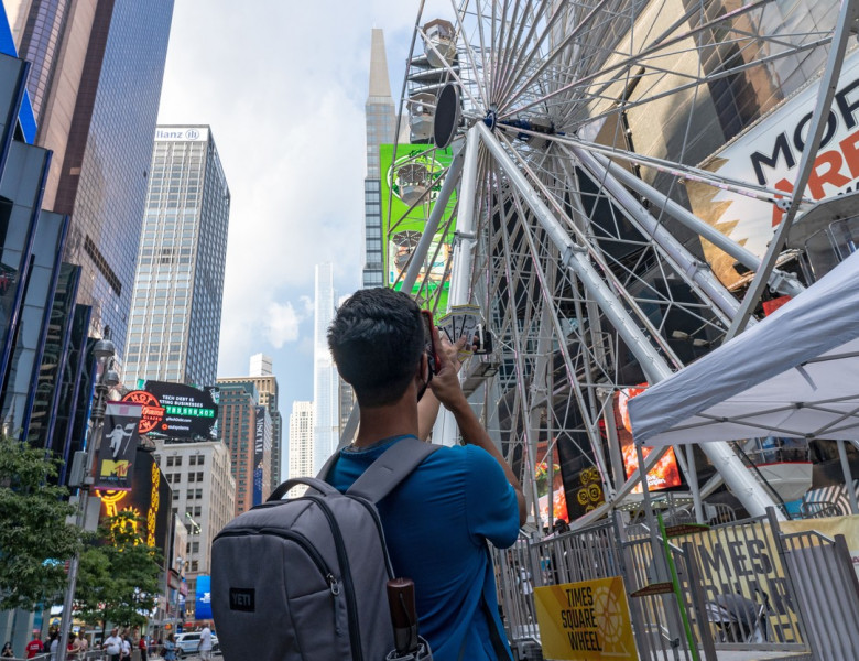 Times Square Ferris Wheel Open To Public in New York, US - 25 Aug 2021