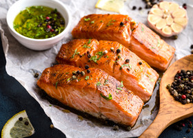 Delicious,Fried,Salmon,Fillet,,Seasonings,On,Blue,Rustic,Concrete,Table.