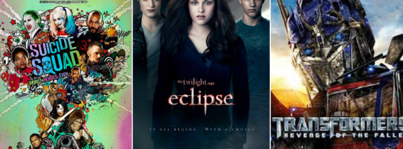 colaj cu posterele suicide squad twilight eclipse si transformers age of extinction