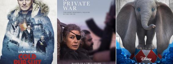 colaj cu posterele filmelor cold pursuit dumbo si a private war
