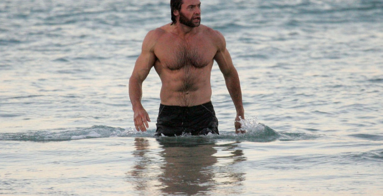 **RESTRICTIONS APPLY**Hugh Jackman takes an early morning swim on a brisk Winter's day at Bondi Beach