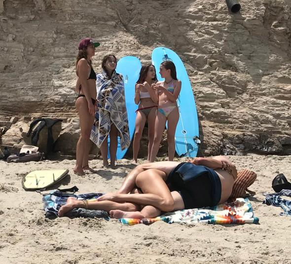 EXCLUSIVE: Gerard Butler shirtless surfing hugging and kissing Morgan Brown
