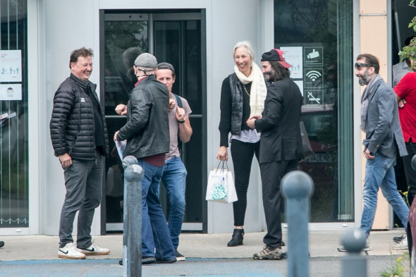 EXCLUSIVE: **PREMIUM EXCLUSIVE RATES APPLY**Keanu Reeves and Carrie-Ann Moss arriving at Schoenefeld airport in Berlin, Germany. The actors are in Berlin to reprise their roles in the 4th installment of The Matrix, the first international movie productio