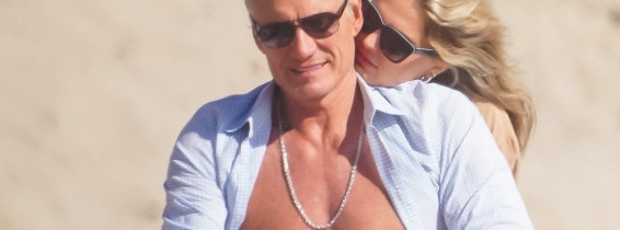 *EXCLUSIVE* Dolph Lundgren and fiancee Emma Krokdal enjoy a sunny beach day date in Malibu!