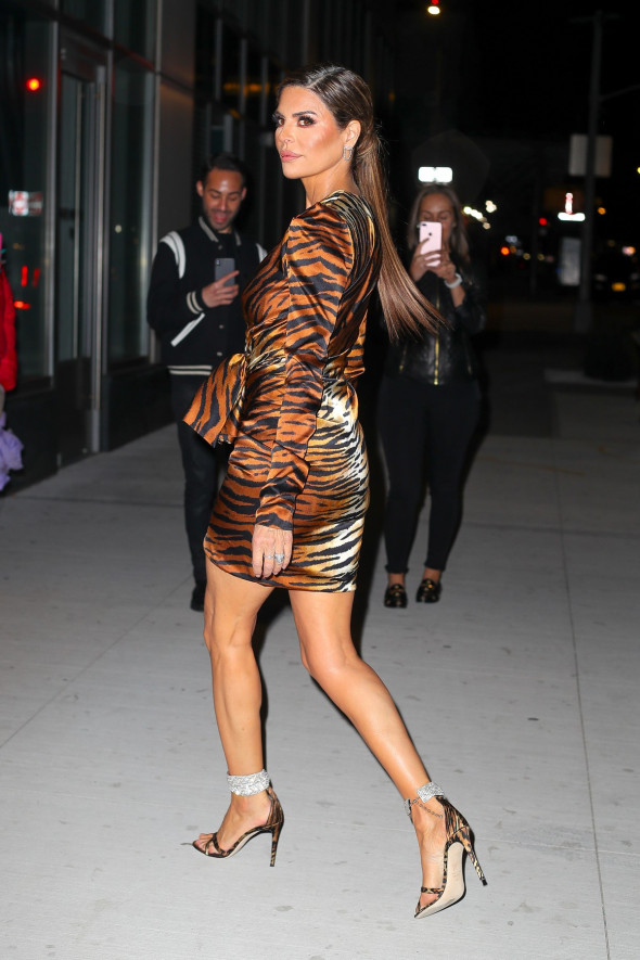 EXCLUSIVE: Lisa Rinna Looks Radiant In A Tiger Printed Long Sleeve Dress For Her Appearance At The Watch What Happens Live With Andy Cohen