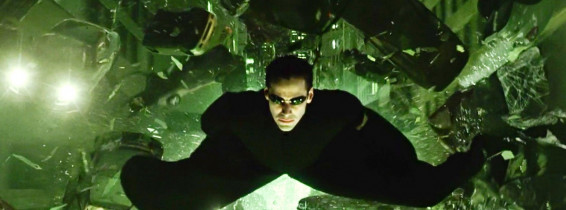 USA. Keanu Reeves in a scene from the ©Warner Bros film : The Matrix Reloaded (2003).Plot: Neo and his allies race against time before the machines discover the city of Zion and destroy it. While seeking the truth about the Matrix, Neo must save Trinity
