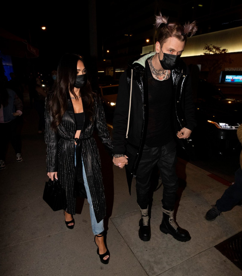 Megan Fox and Machine Gun Kelly arrive at BOA steakhouse in Los Angeles