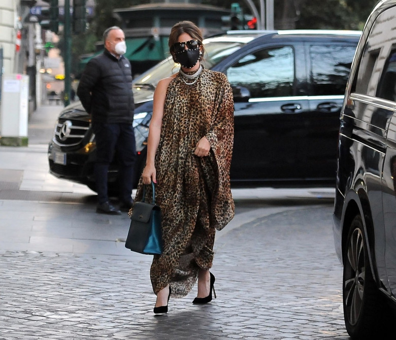 American singer Lady Gaga looks every inch a glamourous pop star wearing her animal printed kaftan and black studded face mask out in Rome.