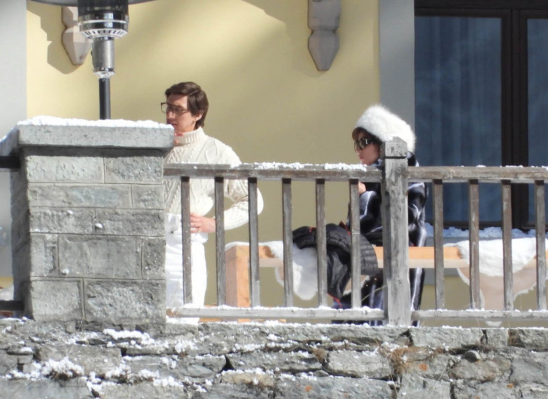 Lady Gaga and Adam Driver filming House of Gucci in Gressoney St. Jean, Italy