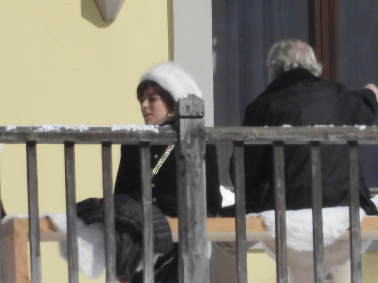 Lady Gaga and Adam Driver filming House of Gucci in Gressoney St. Jean, Italy. directed by Ridley Scott