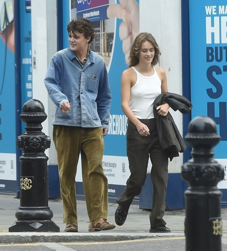 *EXCLUSIVE* *WEB MUST CALL FOR PRICING* The son of the American Actor Johnny Depp, 18-year old Jack Depp is spotted taking a leisurely lunchtime stroll with his French model girlfriend Camille Jansen out in London.