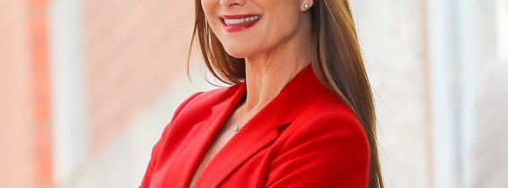 EXCLUSIVE: Brooke Shields Looks Radiant In A Red As She Poses For A Photoshoot In New York City