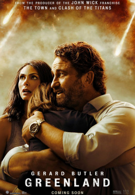 Greenland  (2020) directed by Ric Roman Waugh and starring Gerard Butler, Morena Baccarin and Roger Dale Floyd. A family struggles for survival in the face of a planet-killing comet racing towards the Earth.
