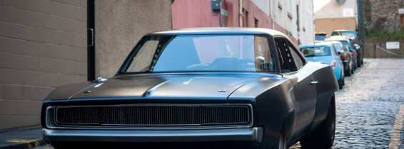 A Dodge Charger on the streets of Edinburgh during the filming of Fast and Furious 9 in September 2019. Taken at Stevenlaw's Close along Cowgate.