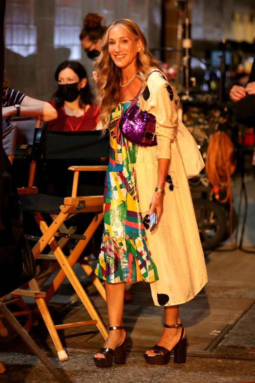 Cynthia Nixon, Sarah Jessica Parker and Kristin Davis Filming And Just Like That