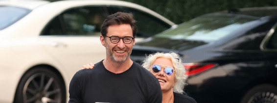 EXCLUSIVE: Hugh Jackman Is All Smiles While Picking Up Pizza With Wife Deborra-Lee Furness In The Hamptons.