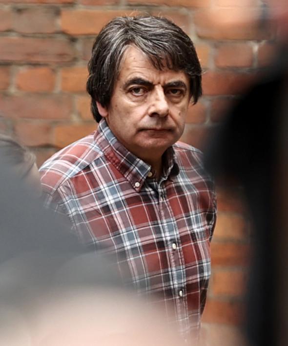 Rowan Atkinson Pictured Filming Man Vs Bee