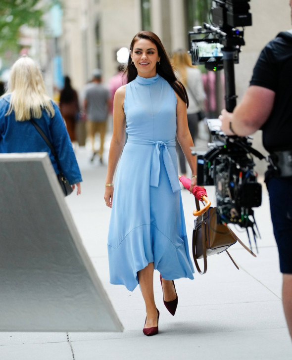 Mila Kunis in three different wardrobe for 'Luckiest Girl Alive' in New York