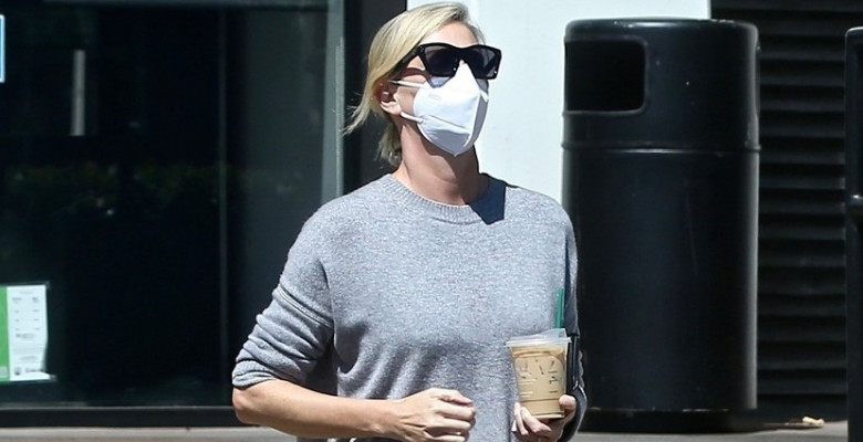 *EXCLUSIVE* Charlize Theron gets a Friday Caffeine Fix