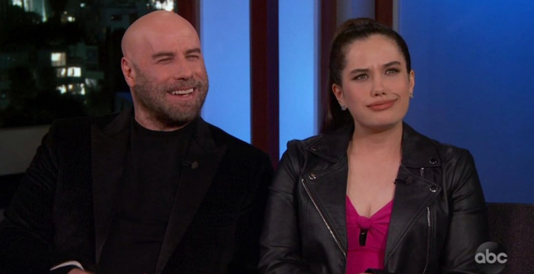 John Travolta and daughter Ella Bleu discuss him going bald and being an embarrassing dad as they appear on Jimmy Kimmel Live!