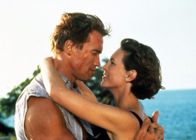 True Lies is a 1994 American action comedy thriller film written, directed and co-produced by James Cameron. It stars Arnold Schwarzenegger, Jamie Lee Curtis, Tom Arnold, Art Malik, Tia Carrere, Bill Paxton, Eliza Dushku, Grant Heslov and Charlton Heston.