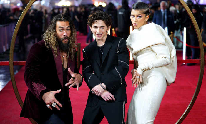 Jason Momoa (left), Timothee Chalamet and Zendaya attend a special screening of Dune at the Odeon Leicester Square in London. Picture date: Monday October 18, 2021.