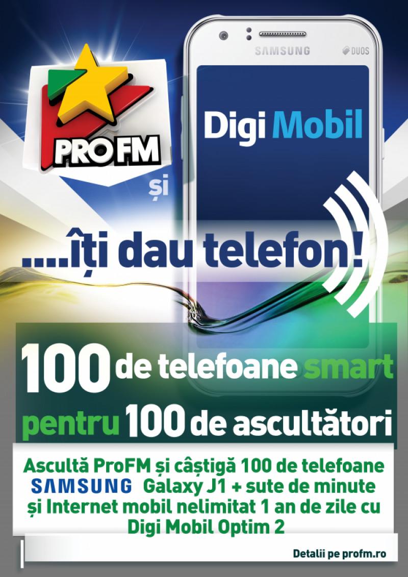 ProFM si DIGI MOBIL iti dau telefon! 100 de telefoane smart