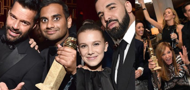 Golden-Globes-Drake-Aziz-Millie-Bobby-Brown