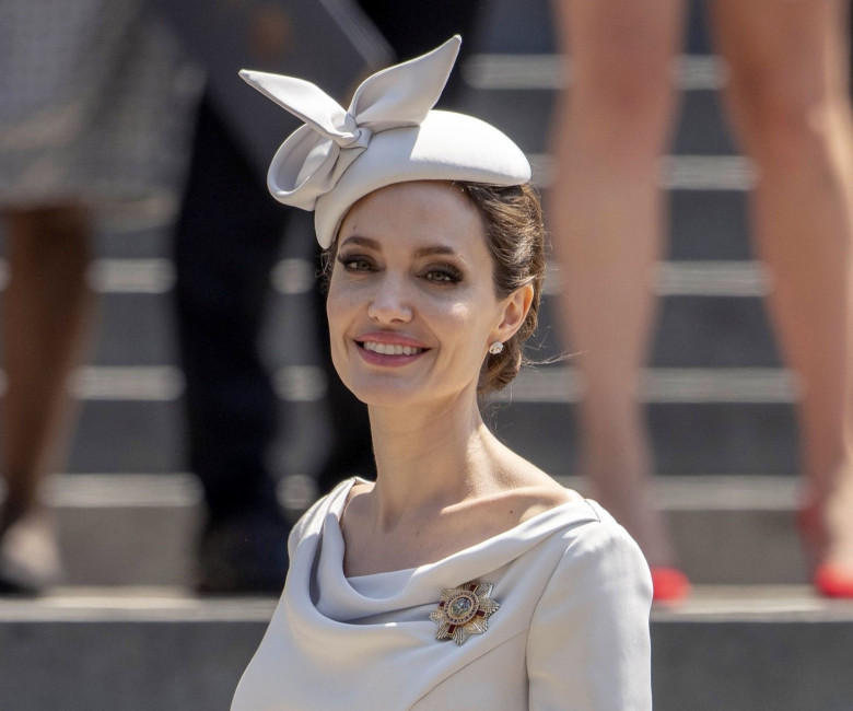 Hollywood actress Angelina Jolie pictured leaving St Paul's Cathedral in London.