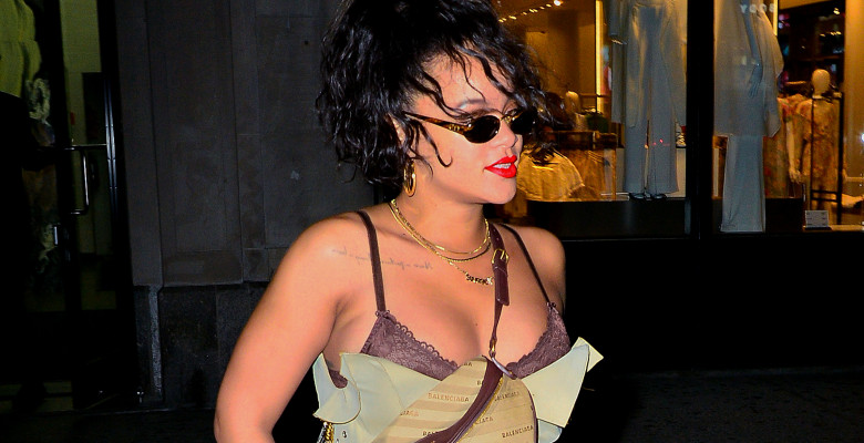 EXCLUSIVE: Rihanna shows off her ample cleavage in a beige crop top and matching pants while out in NYC