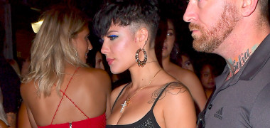 EXCLUSIVE: Halsey Wears Tight Metallic Mini Dress For Solo Outing At NYC Nightclub